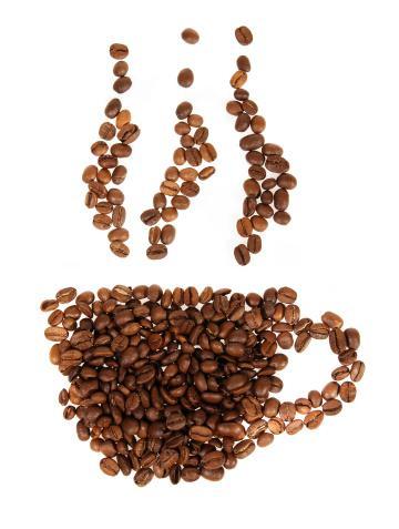 Silhouette mugs of coffee beans