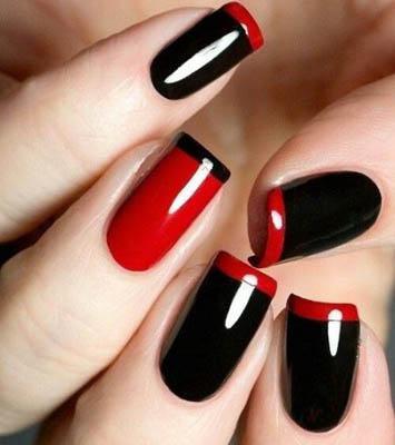 manicura-francesa-rojo-negro
